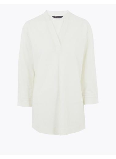 Marks & Spencer Uzun Kollu V Yaka Bluz Beyaz